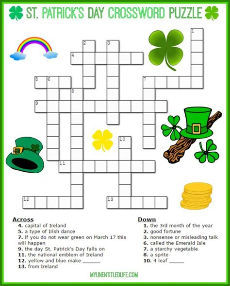 printable irish word games st patrick s day crossword puzzle printable for free