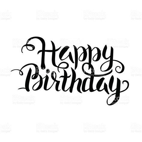 Black Happy Birthday Lettering Over White stock vector art