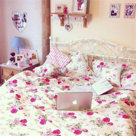 pink floral bedroom ideas white bed sheets with red pink roses and a white vintage