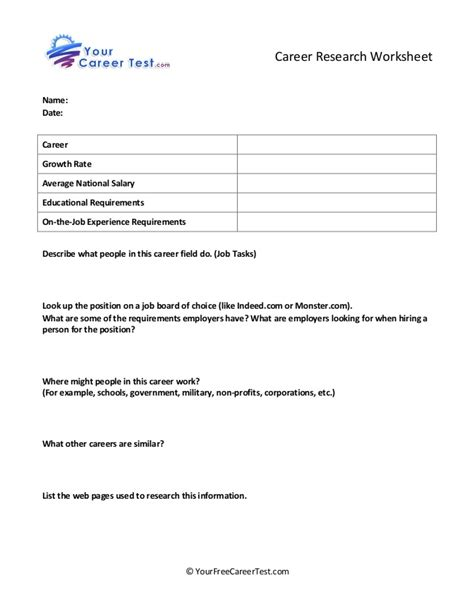 Career Worksheets For Middle School by Career Research Worksheet