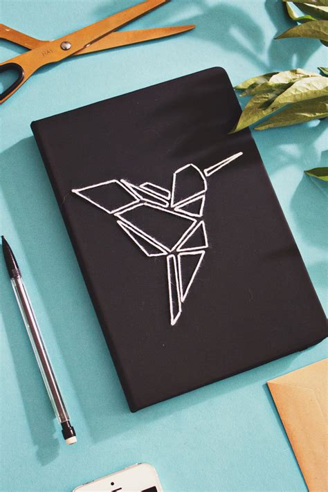 diy origami embroidered book cover