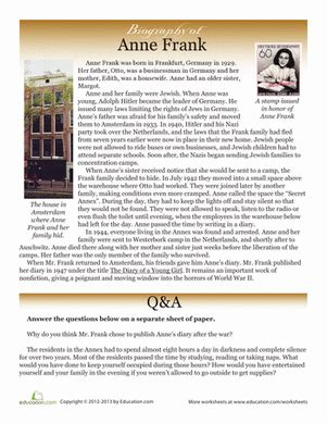 anne frank biography questions worksheets anne frank worksheets opossumsoft worksheets