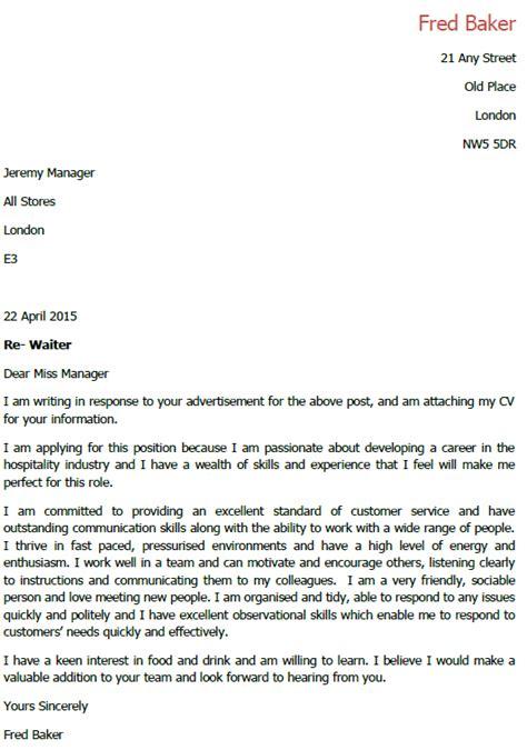 Cover Letter Restaurant Waiter   Cover Letter Templates