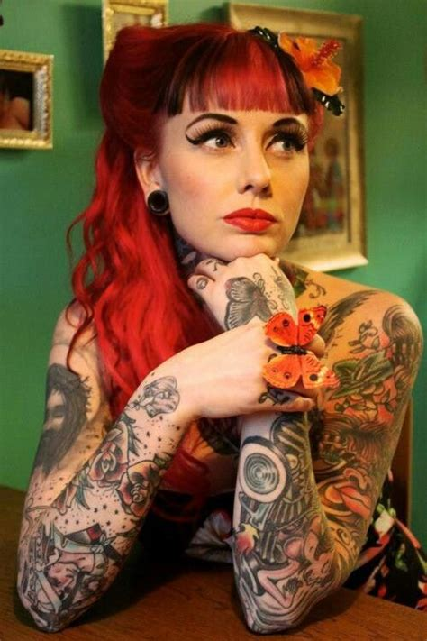 Tattoo Girl Rockabilly | tattooed redhead tattoos pinterest redheads