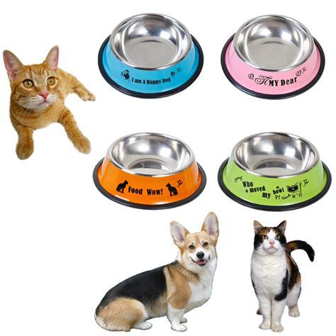 Pet Feeding Vessel Bowl 4 style pet bowls stainless steel anti skid pet cat food water bowl dish pet feeding bowls