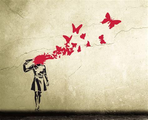 Wandaufkleber Banksy by Wandtattoo Banksy Butterfly Headshot Streetart Ein
