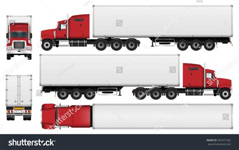 Big Truck Trailer Vector Template Semi Stock Vector 507471262 Shutterstock Trailer Templates Free