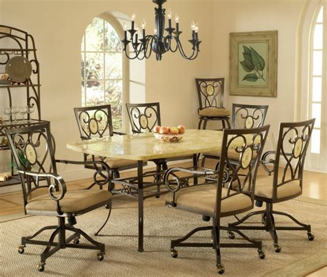 dining room sets with caster chairs hillsdale brookside 7 rectangle dining room set w