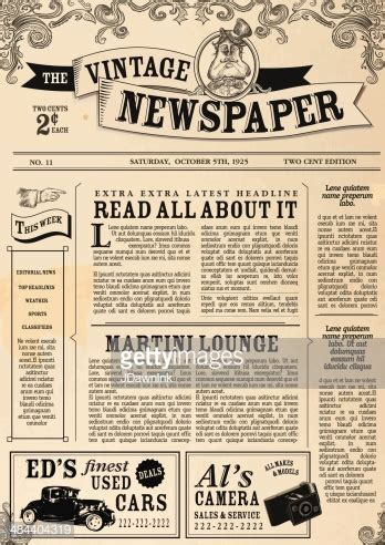 Vintage Newspaper Layout Design Template Vector Art Getty Images Family Newspaper Template