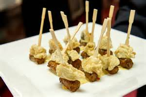 Cocktail Party Appetizer - during the cocktail reception passed hors d oeuvres included fried oysters with chipolata