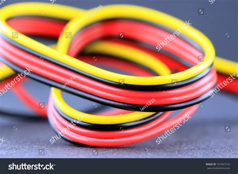black and yellow wires multicolored electrical wires yellow black stock