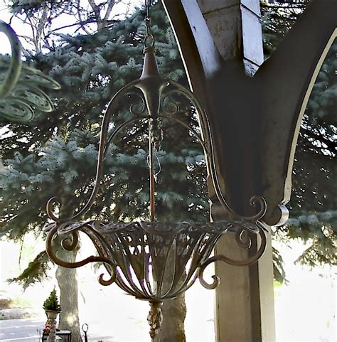 Wrought Iron Hanging Planters by Hanging Planter Rust Finish Wrought Iron Ebay
