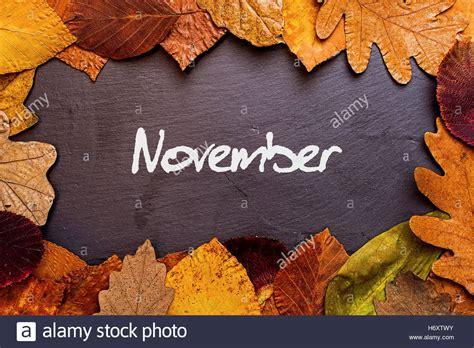 november images autumn leaves frame on background november