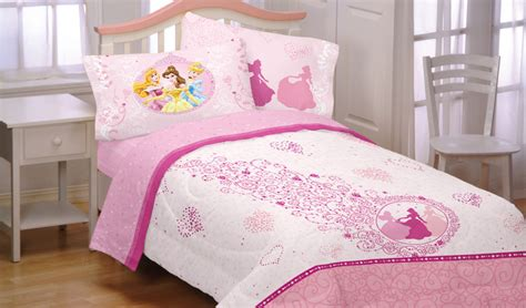 5pc disney princess pink hearts full bedding set