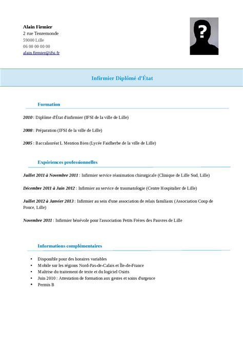 Exemple De Cv De Travail by Exemple Mod 232 Le De Cv Infirmier Staffsant 201