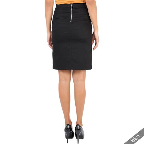 womens zipper front stretch formal smart pencil bodycon