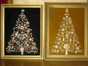2 vintage costume jewelry christmas tree framed pictures