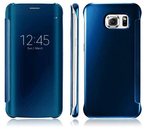 Nano Flip Cover Samsung Galaxy S7 Abu Abu clear view flip cover for samsung galaxy s7 edge blue