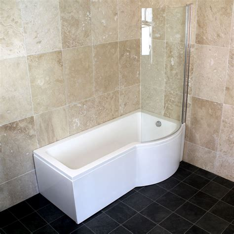 shower bath 1500 bathroom 1500 1600 1700 left right p shaped shower bath with shower screen ebay