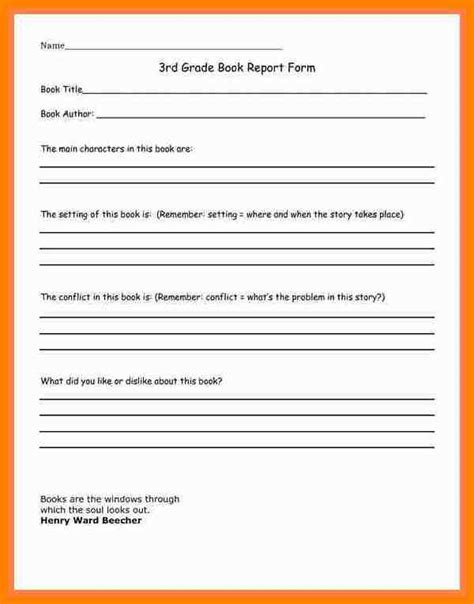 8 book report template 3rd grade dialysis nurse