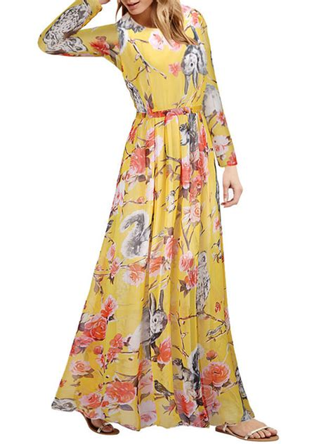 Print Sleeve Chiffon Dress plus size chiffon floral print sleeve maxi dress