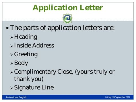 application letter parts types of business letters