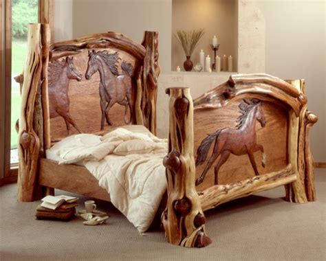 wood carving bed carved horse bed