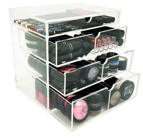 Bathroom Makeup Storage Ondisplay 4 Tier Nyc Acrylic Cosmetic Makeup Organizer Contemporary Bathroom Organizers By