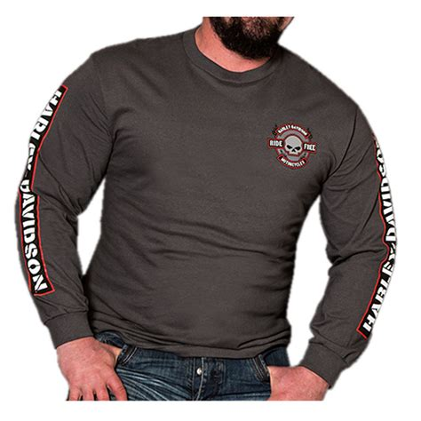 Harley Davidson Mens Lined Denim Sleeve Skull Shirt harley davidson s brawler willie g skull sleeve t shirt charcoal gray ebay