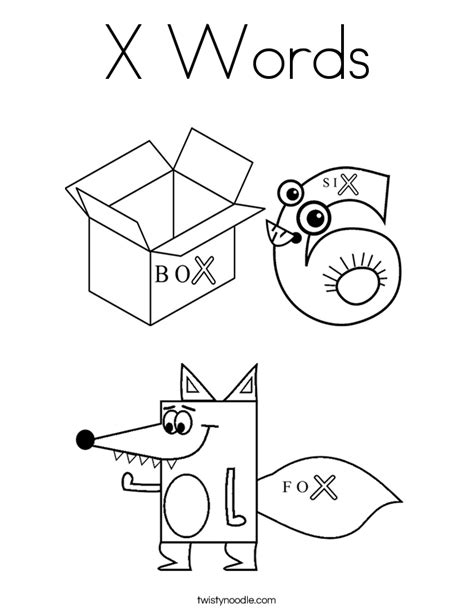 printable letter x coloring page x words coloring page twisty noodle