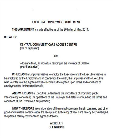 39 Agreement Forms In Pdf Sle Templates Ceo Employment Agreement Template