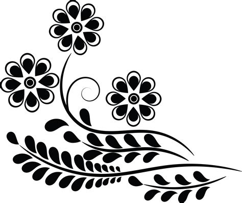 Wedding Flowers Clip Black And White by Clipart Black And White Flower Design Clipartxtras