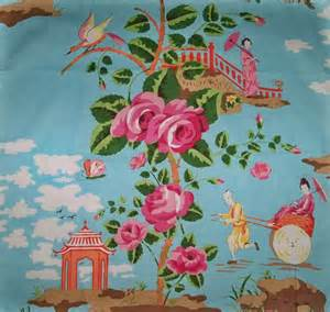 Coral Home Decor Fabric Scalamandre Chinoiserie China Rose Toile Fabric Shabby