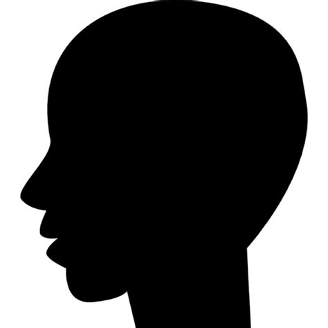 Headl Icon Black black bald shape from side view icons free