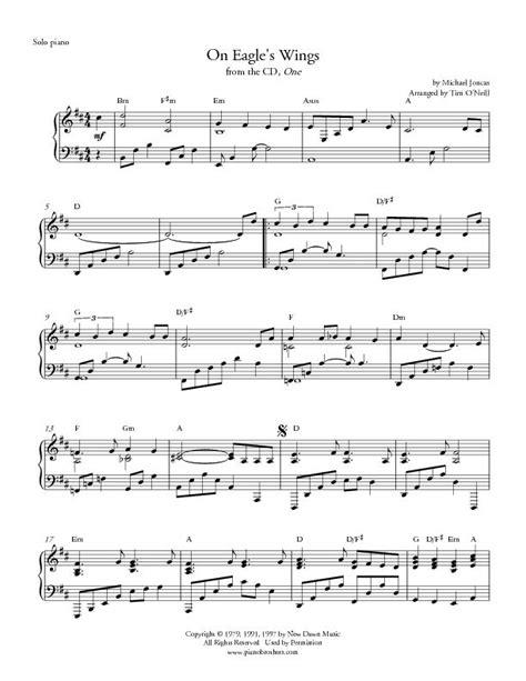 printable lyrics to on eagles wings piano music wedding music holiday music piano wedding music