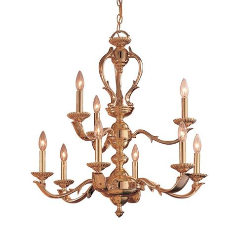 Classic Chandelier Shop Classic Lighting Oxford 27 In 9 Light Polished Brass Vintage Candle Chandelier At Lowes