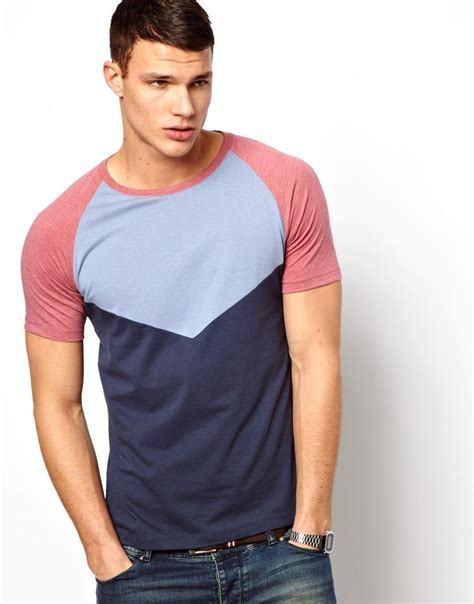 guini material styles for men men s tshirt with colour block cut and sew panels