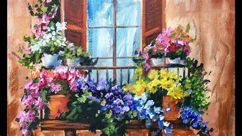 Flowers in the Window on a Balcony Beginner Acrylic