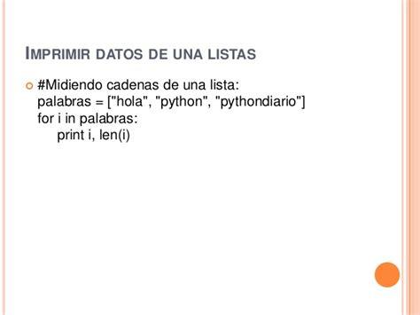 imprimir cadenas en python bucles en python