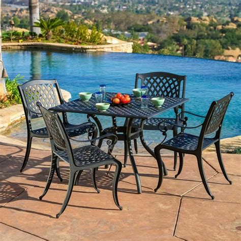 luxury outdoor patio furniture pcs cast aluminum black