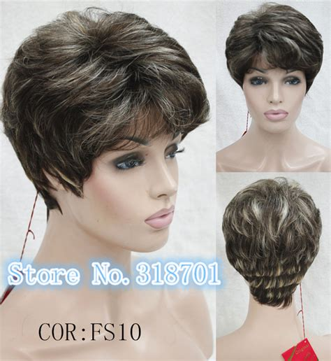 fake hair highlights for pixie cuts brown with blonde highlights natural hair wigs synthetic