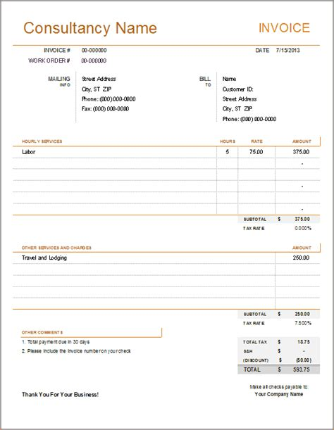 5 consultant invoice templatereport template document
