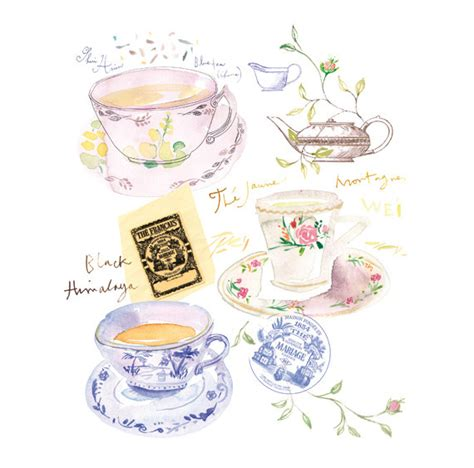 modern watercolour kitchen tea ideas with craft class tips blue tea print watercolor tea cup painting tea by