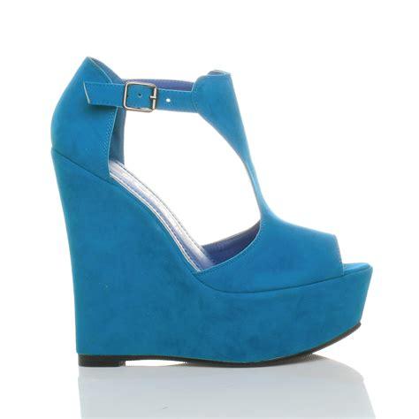 womens high wedge heel platform peep toe shoes
