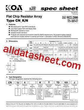 resistor array smd datasheet cn1f8kttd datasheet pdf koa speer electronics inc