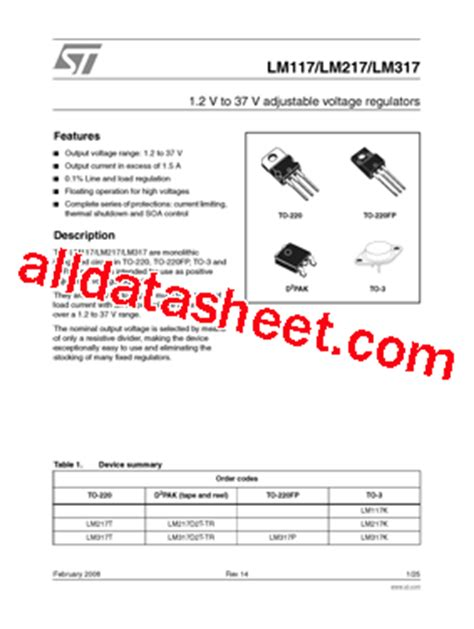 transistor lm317 lm317 datasheet pdf stmicroelectronics