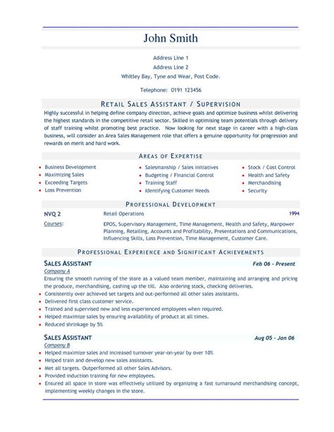 Stockroom Assistant Sle Resume by Retail Sales Resume Sales Assistant 3 Stuff Shops Retail And Resume