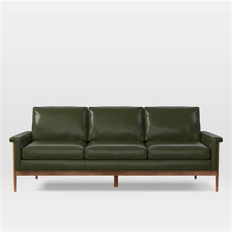 leather sofa wooden frame leon wood frame leather sofa 82 quot west elm