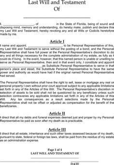 Last Will And Testament Template Florida Last Will And Testament Last Will Testament Pdf Will Florida Template