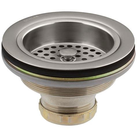 Kohler Kitchen Sink Drain Kohler Duostrainer 4 1 2 In Sink Strainer In Vibrant Stainless K R8799 C Vs The Home Depot